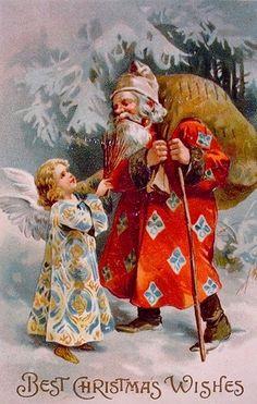 Vintage Christmas Postcard - Santa and Angel Vintage Christmas Images, Old Christmas, Christmas Scenes, Victorian Christmas, Father Christmas, Retro Christmas, Vintage Holiday, Christmas Wishes, Christmas Pictures