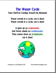This is a very catchy water cycle song that I would share to my kids. It will definitely help them remember the water cycle because they will catch themselves singing this song to help them remember. It is a great teaching tool that the students love! 1st Grade Science, Kindergarten Science, Elementary Science, Science Classroom, Teaching Science, Science For Kids, Earth Science, Science Penguin, Weird Science