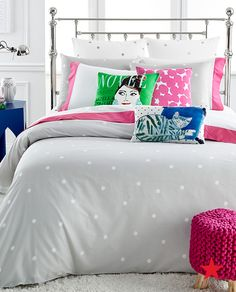 Bring a whimsical energy to your room with playful polka dots, kate spade new york Deco Dot bedding collection
