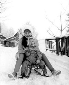 Audrey Hepburn and her son Sean Ferrer.