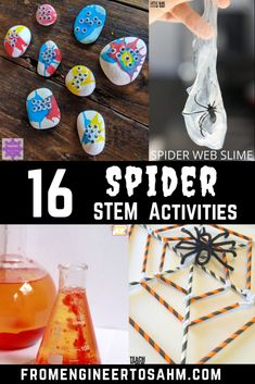 Get ready for Halloween with 16 Spider inspired STEM Activities! From slime to rock painting, making your own spider legs, your kids will surely be inspired! Science Experiments For Preschoolers, Halloween Activities For Kids, Steam Activities, Halloween Ideas, Science Ideas, Science Lessons, Classroom Activities, Halloween Crafts, Classroom Ideas