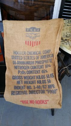 Burlap Feed Sack - Hooker Chemical Company American Shield with Shaking Hands Logo by BabyBAntiques on Etsy