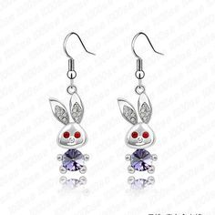 Bunny Earings with Crystals from Swarovski/Many Beautiful Colors BUY IT NOW https://miniaturepinscherlovers.com #miniaturepinscherlovers