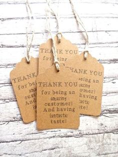 50 Kraft Paper Thank You Gift Tags / Hang Tags - Because Buying Handmade is AWESOME - Kraft Paper // Scallop Style Tags
