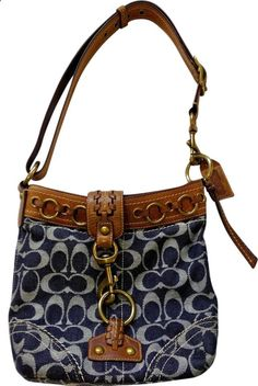 COACH Blue Denim Signature Whiskey Leather Crossbody Duffle Purse Rare 10405 $199.99