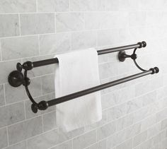 "Mercer Double Towel Bar, 24"", Antique Bronze finish"