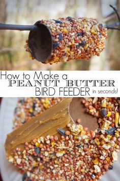 I made this simple diy peanut butter bird feeder in just seconds! We had 6 created in just a few minutes. I love that there is no twine or string involved! Such a fun idea for kids.(How To Make Butter Kindergarten) Pine Cone Bird Feeder, Diy Bird Feeder, Projects For Kids, Crafts For Kids, Kids Diy, Art Projects, Homemade Bird Feeders, Earth Day Crafts, Paper Towel Rolls