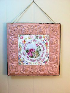 SHABBY PINK MOSAIC TILE CEILING TIN WALL HANGING -SOLD
