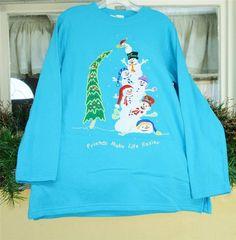Quacker Factory Christmas Snowman Sweatshirt M NWT Turquoise Blue Green White #QuackerFactory #SweatshirtCrew