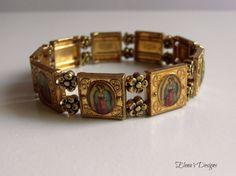 Virgin Mary Antique Golden Bracelet Stretchy Stacking Jewelry Catholic Saints