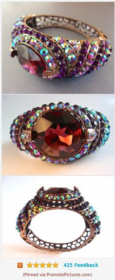 Purple and AB Rhinestone Hinged Cuff Bracelet, Copper Tone, Open Work Setting, Vintage #bracelet #cuff #vintage #rhinestones #purple https://www.etsy.com/RenaissanceFair/listing/574999327/purple-and-ab-rhinestone-hinged-cuff?ref=listings_manager_grid  (Pinned using https://PromotePictures.com)