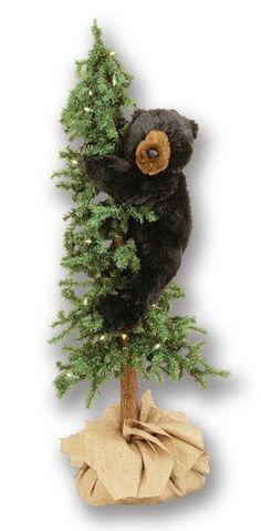 "Alpine Tree with Black Bear Display 48"""