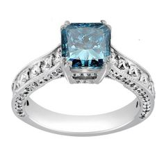 Blue diamond can be considered to be fancier than any regular diamond even for three stone antique engagement rings. Description from bromgold.com. I searched for this on bing.com/images