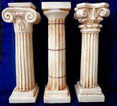 3 Set Column Corinthian, Ionic, Doric Set Pedestal Temple Ancient Marble NEW Roman Architecture, Ancient Architecture, Pedestal, Corinthian Order, Corinthian Columns, House Pillars, Roman Columns, Column Design, Greek Art
