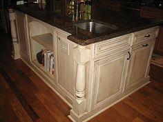 cream, distressed kitchen cabinets