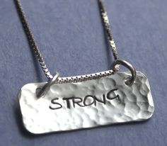 Strong Hand Stamped Sterling Silver Necklace Sterling Silver Empowerment Survivor Inspirational Jewelry on Etsy, $29.00