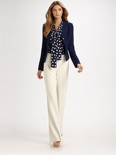 St. John Silk Tie-Front Blouse with Hemp-Knit Jacket and WIde-Legged Diana Pants
