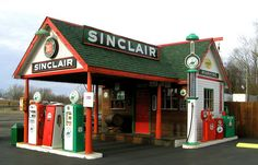 Restored Sinclair Gas Station in Bucyrus, Ohio in Crawford County.