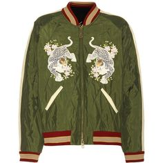 Chloé Reversible Bomber Jacket With Appliqué (€2.070) ❤ liked on Polyvore featuring outerwear, jackets, green, multi colored jacket, colorful jackets, green flight jacket, bomber style jacket and chloe jacket