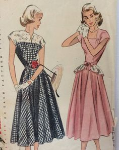 I have this one!   Simplicity 2357 vintage 1940's woman's dress with peplum sewing pattern size 18 bust 36