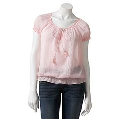 Candies Lace Peasant Top