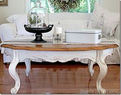 I have an oak table like this...it's going to get a make-over! Love the stained top and farmhouse white bottom!