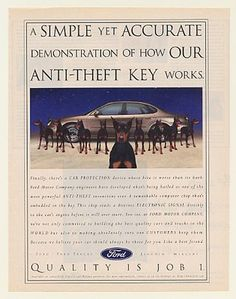 1996 Ford anti-theft key Doberman ad.