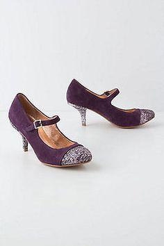 NIB Anthropologie Glitter-Capped Mary Janes Pumps Kitten Heel Size 7