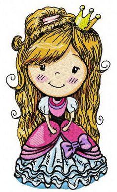 Cute princess 2 machine embroidery design Machine embroidery design www.embroideres.com
