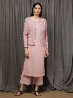 Peach Cotton Kurta with Palazzo and Old Rose Tie and Dyed Jacket - Set of 3 Indian Bridal Outfits, Indian Designer Outfits, Indian Dresses, Designer Dresses, Stylish Dresses For Girls, Stylish Dress Designs, Simple Dresses, Saree Blouse Neck Designs, Kurta Designs