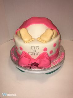 Baby Butt Baby Shower Cake pink, white and silver