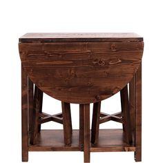 Chairlock šetří místo i v tom nejmenším pokoji. Sada obsahuje kulatý sklápěcí stolek se 2 zásuvkami - k tomu 2 stoličky (nosnost až 120 kg),