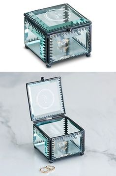 Vintage Inspired Glass Jewelry Box with Modern Monogram Etching | Personalized Gifts and Party Favors