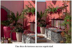 Harmonie de rose et de rouge mis en valeur avec les plantes qui se posent en couleur complémentaire au jeu des roses et rouge. || Les végétaux de différentes essences dans de grands pots avec des cailloux clairs au pied des plantes pour redonner de la lumière constitue un choix dont vous ne vous lasserez pas. Éclairées pourquoi pas par des lampes télescopiques piquées dans la terre. ||  Idée déco : la banquette réalisée avec du grillage et des galets tout comme la table basse