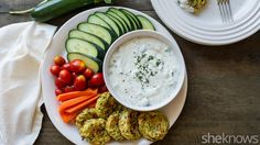 Snack healthier with zucchini fritters and ranch tzatziki dressing