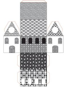 Print, Cut, Paste, Craft » Blog Archive » Free Printable Little Paper House : Black and White Patterns