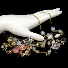Mid Century Extra Long Vintage Necklace Chunky Acrylic Faux Crystals Filigree Beads