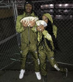 Green couple with money💚💸 Cute Black Couples, Black Couples Goals, Cute Couples Goals, Dope Couples, Couple Goals Relationships, Relationship Goals Pictures, Couple Relationship, Matching Couple Outfits, Matching Couples