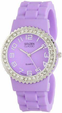 "Golden Classic Women's 2301-purple ""Bangle Jelly"" Rhinestone Silicone Watch Golden Classic. $23.10"