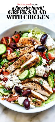 Crisp, crunchy, and fresh with Mediterranean flavor, this Greek salad topped with chicken is easy to meal prep ahead for weekday lunches or a light dinner. Meat Appetizers, Appetizer Recipes, Salad Recipes, Dinner Recipes, Healthy Recipes, Dinner Ideas, Greek Chicken Salad, Healthy Salad With Chicken, Greek Dinners