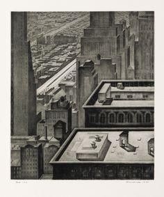 ARMIN LANDECK  Manhattan Vista.   Drypoint, 1934