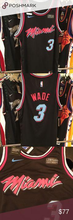 0def878690b8 Miami Heat Wade Vice City NBA Basketball Jersey Size Large NWT Ships  Same Next