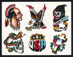 Native American eagle skull snake traditional tattoo flash