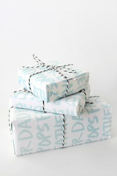 printable father's day gift wrap with black twine