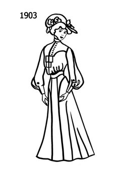 Fashion SilhouetteTimeline Drawing 1903