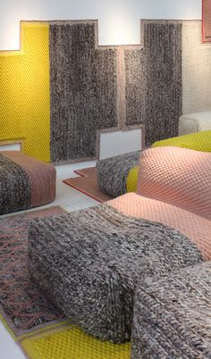 """Patricia #Urquiola designed for Gan the collection """"Lana Mangas"""" with carpets and poufs / #maisonobjet"""