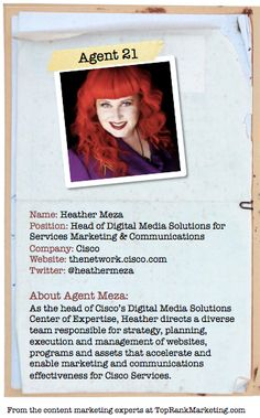 Bio for Secret Agent #21 @heathermeza  to see her content marketing secret visit tprk.us/cmsecrets