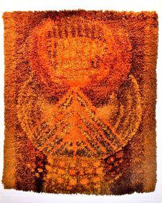 Vtg Terttu Tomero SPRUCE TWIGS Wool Wall Rya Rug Finnish Modern Art Neovius