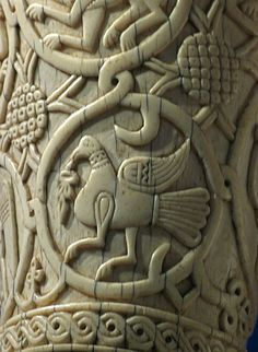 Bird holding a leaf.  Detail of an eleventh century oliphant, a large ivory hunting horn.  Possibly made in Egypt for export to Europe.  From the collection at the British Museum