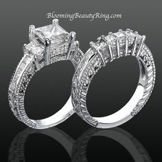 #VintageEngagementRing #EngagementRingSet Engagement Ring With Custom Made Wedding Band  http://www.BloomingBeautyRing.com